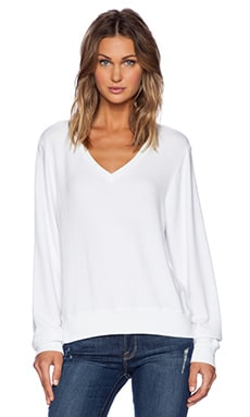 Wildfox Couture Baggy Beach V-Neck Top in Clean White