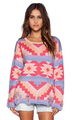 Wildfox Couture Desert Drive Poncho in Acid Pink