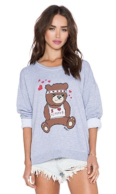 Wildfox Couture Teddy Hug Sweater in Clean White