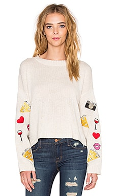 Wildfox Couture Vintage Emoji Sweater in Vintage Lace