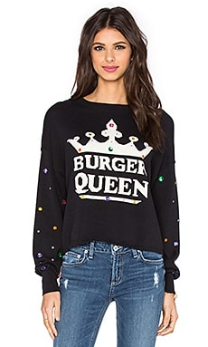 Wildfox Couture Burger Queen Sweater in Dirty Black