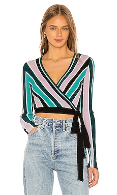 Vivid Stripes Emma Sweater Wrap Wildfox Couture $113