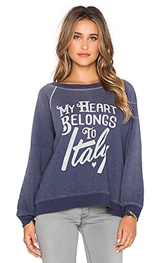 Wildfox Couture My Heart Belongs To Sweatshirt in Dirty Oxford