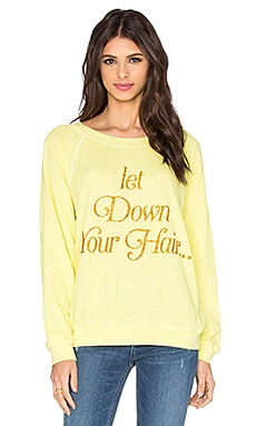 Wildfox Couture Let Down Your Hair Sweatshirt in Pina Colada