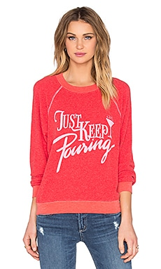 Wildfox Couture Just Keep Pouring Sweatshirt in Ariel Red