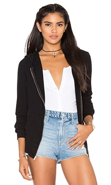 Wildfox Couture Basics Zip Up Jacekt in Jet Black