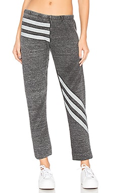 Burnout Fleece Tri Stripe Bottoms in Heather Dirty Black