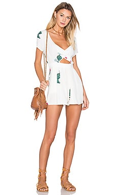 Cactus Flower Romper in Clean White
