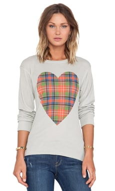 Wildfox Couture Tartan Heart long Sleeve in Morning Mist