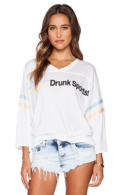 Wildfox Couture Drunk Sports Tee in Clean White