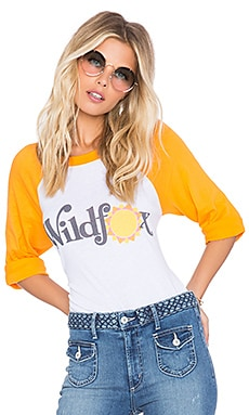 Wildfox Couture SU2C X REVOLVE Always Sunny '79 Raglan in Clean White & Summer Tomato