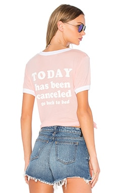 Wildfox Couture Today is Cancelled Tee in Neon Sign Coral & Clean White