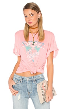 Wildfox Couture Vacation Mode Tee in Neon Sign Coral