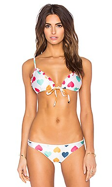 Wildfox Couture Vintage Hearts Triangle Bikini Top in Vintage Lace