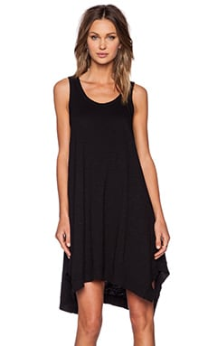Wilt Slub Jersey Flutter Tank Dress in Standard Black