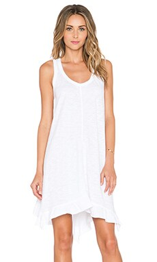 Wilt Ruffle Trapeze Dress in White