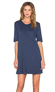 Wilt Slub Trapeze Tee Dress in Indigo