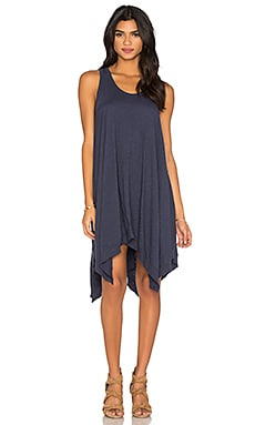 Slub Hanky Hem Slit Tank Dress in Aviator