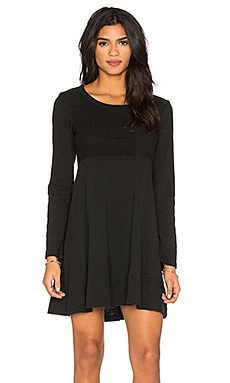 Wilt Slub Long Sleeve Flare Mixed Tee Shirt Dress in Black