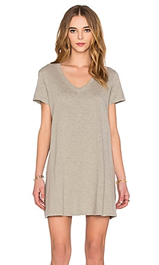 Slub V Neck Trapeze Tee Shirt Dress in Grey Heather