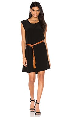 Slub Mixed Shift Dress in Black