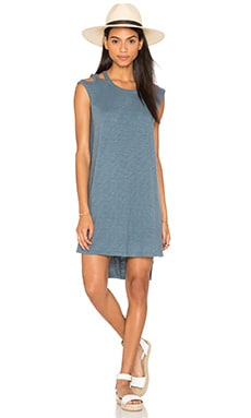 Wilt Slub Cutout Shoulder Muscle Tee Dress in Train