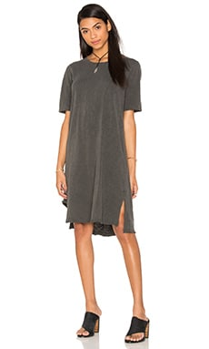Slub Short Sleeve Cutout Hem Tee Dress in Distressed Black