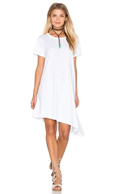 Slub Slant Hem Trapeze Dress in White
