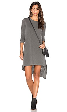 Extreme Slant Hem Dress in Distressed Black