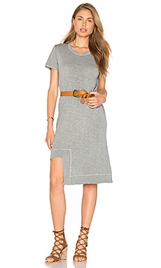 Rib Mix Uneven Hem Tee Dress in Mineral