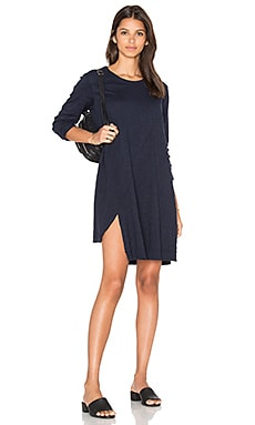 Long Sleeve Shifted Trapeze Dress in Banker