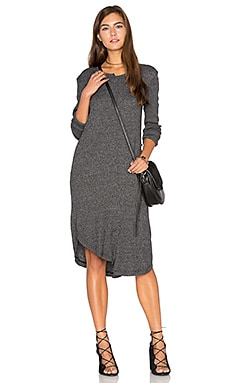 Shifted Shirt Elbow Sleeve Dress in Black Heather