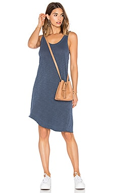 Slub Twisted Hem Tank Dress in Midnight