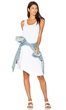 Twisted Hem Tank Dress in White