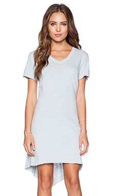 Wilt Slub Jersey Shrunken V Neck Tee Dress in Distressed Mist