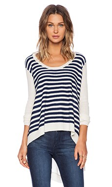 Wilt Cashmere Mix Sweater in Stripe Baby V-Back in Navy & Cloud