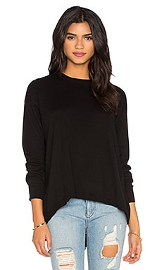 Wilt Cotton Cashmere Split Back Slouchy Sweater in Black