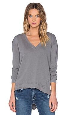 Wilt French Terry Deep V Big Backslant Sweatshirt in Alley Cat