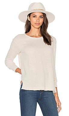 Baby Cashmere Notch Hem Shrunken Sweatshirt in Oatmeal Heather