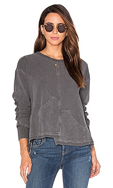 Wilt Big Pockets Shifted Sweatshirt in Distressed Black