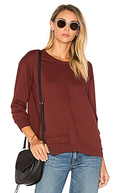 Shrunken Overlap 3/4 Sleeve Sweatshirt in Maroon