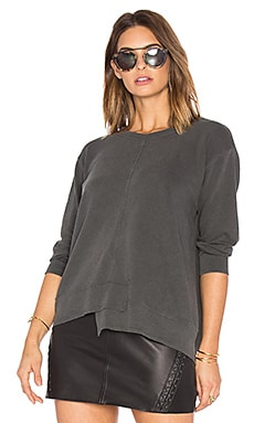 Shrunken Shifted Sweatshirt in Distressed Black