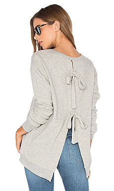 Tie Back Sweatshirt in Grey Heather