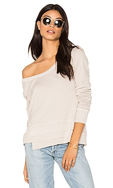 Extreme V Neck Sweatshirt in Stone