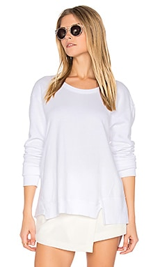 Seamed Mixed Sweatshirt in White