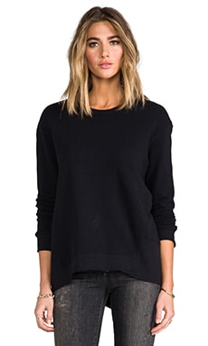 Wilt Vintage French Terry Back Slant Sweatshirt in Black