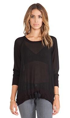 Wilt Long Sleeve Big Mixed Sweatshirt in Black