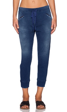 Wilt Distressed Shrunken Crop Sweatpant in Indigo