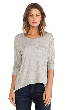 Wilt Big Back Slant Long Sleeve Tee in Heather Grey