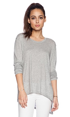 Wilt Raw Slouch Twist Long Sleeve in Grey Heather